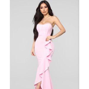 Fashion Nova pink ruffled dress